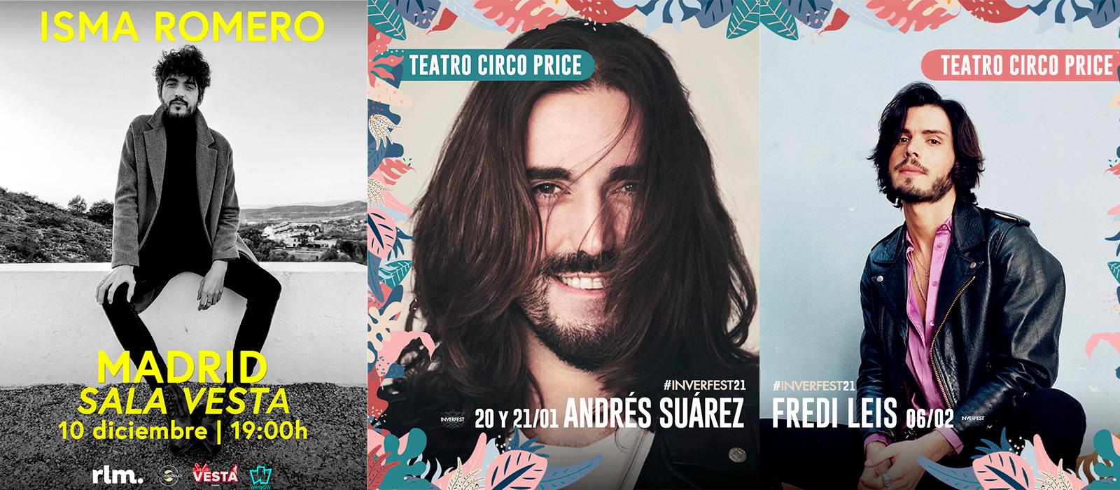 ¿Tienes ganas de concierto? Andrés Suarez, Fredi Leis e Isma Romero regresan a Madrid